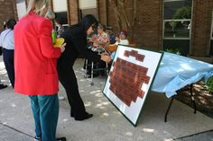Memorial bricks (tiles) will be placed in the garden gazebo. Each tile contains the name or sentiment of a loved one.
