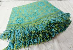 round damask woven green turquoise tablecloth matching by gleaned, $50.00