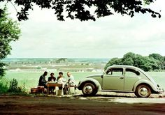 Volkswagen Beetle / Käfer / Kever / Fusca - Picnicking with a view on the Wolfsburg Volkswagen factory.