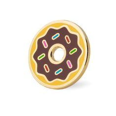 """Go nuts for donuts Gold pin with colored enamel Rubber backing Measures .875""""wide"""