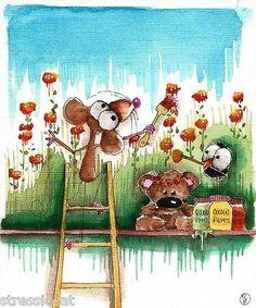 Original Watercolor Painting Art Illustration Mouse Teddy Crow Flowers Paint Sky | eBay