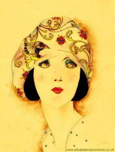 Flapper girl |  Elisabete Nascimento  #illustration