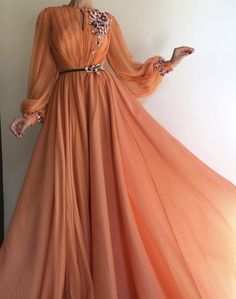 Long Sleeve Prom Dresses A-line Hand-Made Flower Chiffon Prom Dress Long Evening Dress – Hijab Fashion Orange Prom Dresses, Prom Dresses Long With Sleeves, Tulle Prom Dress, Ball Gown Dresses, Formal Dresses, Dress Long, Party Dress, Chiffon Dress, Silk Skirt