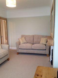 Living room; Jurassic Stone walls below picture rail, brilliant white above picture rail, oak Winchester glazed doors