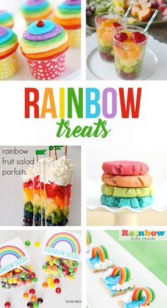 Favorite rainbow treats for St. Patrick's Day, rainbow parties, unicorn parties, or anytime you want a colorful snack! #rainbowtreats #rainbowsnacks