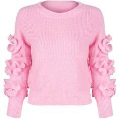 Choies Women Pink Frill Embellished Fluffy Knitted Pullover Jumper... (€20) ❤ liked on Polyvore featuring tops, sweaters, pink pullover, pink jumper, sweater pullover, flounce top and ruffle top