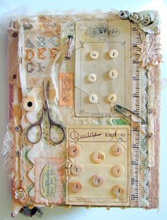 Front cover of altered book using sewing notions. Something like this would also look nice in the sewing room as wall art.