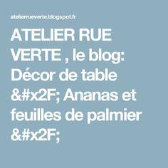 ATELIER RUE VERTE ,  le blog: Décor de table / Ananas et feuilles de palmier /