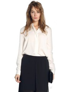#AdoreWe #VIPme Blouses & Shirts - SAINTY White Plain Long Sleeve Casual Shirt - AdoreWe.com