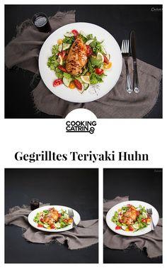 Teriyaki Huhn, gegrilltes Teriyaki Huhn, Huhn gegrillt, Salat, Gemüse, vegetables, salad, grilled chicken, gegrilltes Huhn, grilled chicken teriyaki, teriyaki chicken, dinner, lunch, Mittagessen, Abendessen...http://www.cookingcatrin.at/gegrilltes-teriyaki-huhn-auf-buntem-salat/