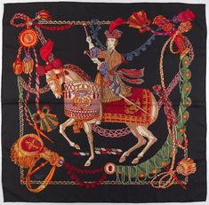 """1395. Hermes Silk Twill Scarf """"Le Timbalier"""" Designed by Francoise Heron - April 2015 - ASPIRE AUCTIONS"""