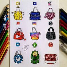 Social Media Handbags Von: Will Matos _ Folgen Sie. You are in the right place about Mandala Drawi App Drawings, Drawing Sketches, Cute Disney Drawings, Cute Drawings, Social Media Art, Amazing Drawings, Medium Art, Cute Art, Arts And Crafts