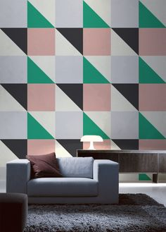 Super stylish and sophisticated. This colour blocking wall mural will take your…