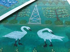 Watercolor paintings by golly bard. #garden #swans #illustration #espalier #obelisk