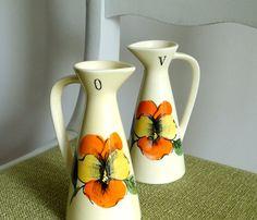 Vintage Oil & Vinegar Little Pitcher Set  Orange by BeppieandEido