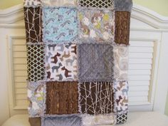 Woodland Pals Baby Rag Quilt Ready To Ship Brown by CottageDome, $98.00