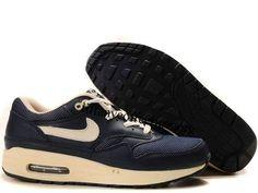 Mens Nike Air Max 1 Premium Obsidian Bone Shoes $ 62.99