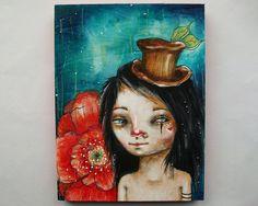 folk art Original boy painting poppies and stardust by Micki Wilde