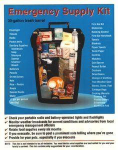 Emergency Supply Trash Can