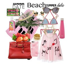 """BEACH DATE."" by seanahr ❤ liked on Polyvore featuring Fendi, ban.do, Hermès, Illesteva, Casetify, P.A.R.O.S.H., BCBGMAXAZRIA, Swarovski, Bulgari and Kate Spade"