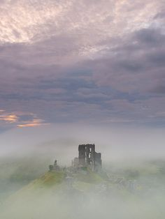 Ancient English Castle in the Mist, Fantasy Landscape Photography Print. Historic Corfe Castle.