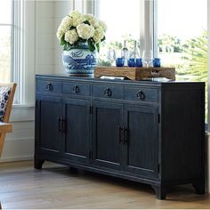 Shop the Newport Bayside Sideboard at Perigold, home to the design world's best furnishings for every style and space. Credenza Decor, Dining Room Sideboard, Sideboard Buffet, Metal Sideboard, Buffet Cabinet, Wood Countertops, Adjustable Shelving, Home Remodeling, Modern Furniture