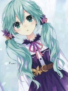 ✮Gasps ✮ I LOVE her hair.....its Hatsune Miku from Vocaloid, but a younger version I believe.  Cute.