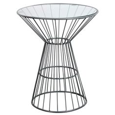 Grey Wire Framed Side Table with Glass Top | Overstock.com Shopping - Great Deals on Horizon Coffee, Sofa & End Tables