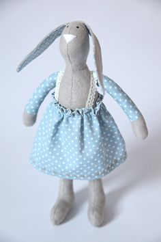 Girl rabbit soft toy by HandmadeGiftBoutique from the UK