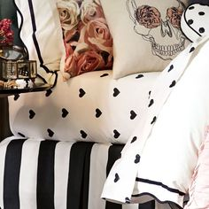 Bed Sheets The Emily + Meritt Heart Sheet Set Cool Bedding: 12 Coolest Bedding Sets The Top 3 Places to Get Dorm Decor 32 Things You Should Be Cleaning But White Bedroom, Dream Bedroom, Master Bedroom, Bedroom Decor, Bedroom Ideas, White Bedding, Bedroom Bed, Decoration Inspiration, Decoration Design