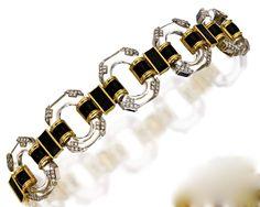 18 Karat Gold, Platinum, Rock Crystal, Diamond and Enamel Bracelet and Brooch, David Webb