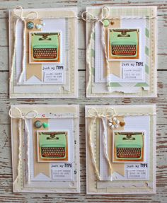 Mish Mash: Green typewriter cards....inspired by Going Green Inspiration Board