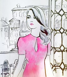 So i finished the drawing of the Pink Lady. I don't Know why but suddenly it came to my mind that she could be at a party in an old Palazzo in #venice ! Wanted it to be some kind of #glamourous ! #fashionillustration #fashionillustrator #illustration #drawing #art #artwork #artlover #watercolours #watercolors #watercolor #draw #drawingoftheday #illustrationoftheday #romance #glamour #pink #beautiful #instaart #fashionblogger #fashionblogger #pretty #creative #canalgrande #venezia