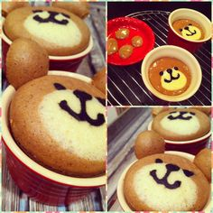 Choco Bear, Mushi Pan (moo-she pahn) a japanese steamed cake. Bento, Cute Desserts, Asian Desserts, Kawaii Cooking, Kawaii Dessert, Steamed Cake, Funny Cake, Just Cakes, Happy Foods