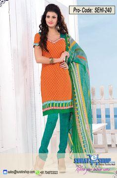 Orange & Cyan Salwar Kameez, Top:fabric amarican 2.00 mtrs, Bottom:fabric amarican 2.00 mtrs, Dupatta:fabric chiffon 2.25 mtrs   Visit: http://surateshop.com/product-details.php?cid=2_27_44&pid=11815&mid=0