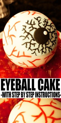 HALLOWEEN EYEBALL CAKE- Learn to make an easy Halloween cake with this step by step tutorial. Great for serving at Halloween parties or make mini eyeball cakes as party favors. Simple cake decorating technique! From CakeWhiz.com #cake #halloween #dessert #cakedecorating Halloween Food For Party, Halloween Cakes, Easy Halloween, Halloween Treats, Halloween Desserts, Easy Cake Decorating, Cake Decorating Techniques, Cake Decorating Tutorials, Delicious Cake Recipes