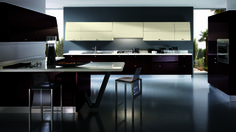 Yes it's the modern Italian kitchen style where elegance and beauty are stunning the cabinets, . Modern Kitchen Cabinets, Modern Kitchen Design, Kitchen Furniture, Kitchen Decor, Modern Kitchens, Kitchen Ideas, Purple Kitchen, Kitchen Colors, Red Kitchen