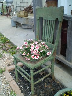 Old green plant chair