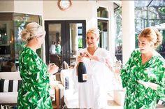 Possibly the BEST bridesmaid gift idea - Piyama Short Kimono Robes in Banana Leaf / Palm Leaf $55 ~ Shop the Piyama Bridal Boutique: www.etsy.com/au/shop/Piyama
