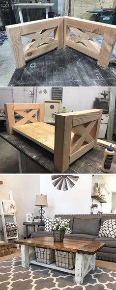 DIY Chunky Farmhouse Coffee Table... Learn how to build this for your home! #diy #coffeetable #Table #DIY #WoodWorking
