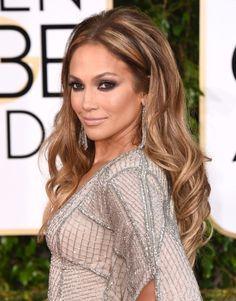 Golden Globes Best Beauty Looks - Jennifer Lopez - Caramel Hair Highlights, Hair Color Highlights, Hair Color Balayage, Ombre Hair, Balayage Ombre, Balayage Brunette, Brown Blonde Hair, Brunette Hair, Golden Blonde