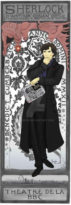 """Mucha-inspired Sherlock! """"Sherlock de Lorenzaccio"""" by The950 #sherlockbbc #Sherlock"""