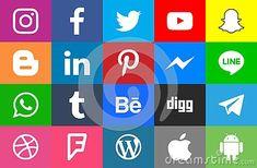 Collection of popular social media icons Facebook Twitter Instagram LinkedIn Pinterest Youtube WhatsApp Snapchat Messenger LINE Digg Android Tumblr Apple Telegram Blogger WordPress Behance Dribbble #download #logo #upload #svg