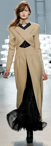 With the right accessories-Camel Modern Victorian Inspired Overcoat over Black Sheer Dress, Beautiful Layered High Collar & Crisscrossing Fabrics (pic only)
