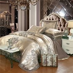 Cheap sheet set, Buy Quality bed set directly from China bedding set Suppliers: Gold silver coffee jacquard luxury bedding set queen/king size stain bed set cotton silk lace duvet cover bed sheet sets Silver Bedding, Satin Bedding, Cotton Bedding Sets, Cotton Duvet, Cotton Silk, Embroidered Bedding, Silver Bedroom, Silk Satin, Cotton Fabric
