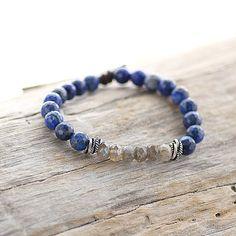 Lapis Lazuli and Labradorite Beaded Gemstone Bracelet by Charliemadison Originals