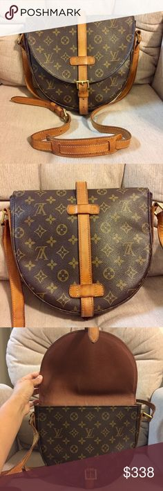 "Louis Vuitton Chantilly GM 100% Authentic Made in France Date Code: VI 1900 Size: 9.5 x 8.5 x 2.25""  Monogram leather- no stains/tears Vachetta leather- rich patina, creases, scratches, leather aging, dark spots Strap- adjustable to crossbody bag, creases, dark spots Hardwares- some tarnish Lining -pinpoint dark dots, no foul smell Pocket- fuzzy from complete peeling, dyed, dry and usable No LV dust bag.  ❌ TRADE. Louis Vuitton Bags Crossbody Bags"
