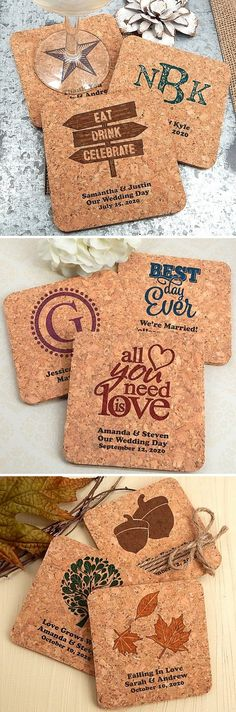 Eco-friendly, all natural, 4 x 4 square corkboard coasters personalized with a trendy wedding design, the bride and groom's name, wedding date and a short wedding message are dual purpose favors guests can used during the reception and take home for use at home every day.