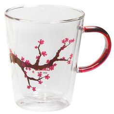 Vessel Blooming Branch Double Wall Glass Mug : glass