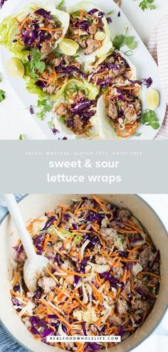 Sweet savory and totally Sweet & Sour Lettuce Wraps (paleo soy-free) is a super fast and tasty weeknight dinner recipe to make tonight! This healthy recipe is gluten-free dairy-free paleo egg-free soy-free mayo-free nut-free and grain-free! Healthy Diet Recipes, Real Food Recipes, Whole30 Recipes, Healthy Food, Drink Recipes, Paleo Dinner, Dinner Recipes, Weeknight Recipes, Salat Wraps